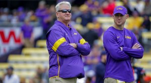 LSU offensive coordinators Steve Ensminger and Joe Brady (right)