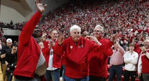 Bob Knight is recognized at halftime of Indiana's matchup against Purdue.