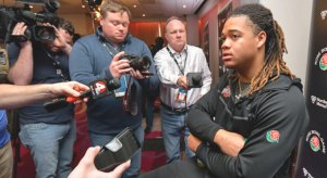 Former Ohio State defensive lineman Chase Young and the media