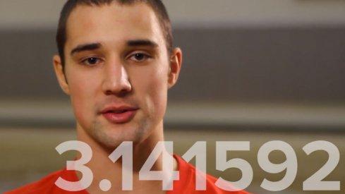 Aaron Craft recites Pi to 62 digits.