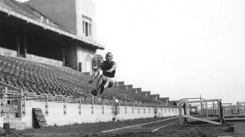 Jesse Owens practicing the broad jump in Ohio Stadium, 1935 via The OSU Library