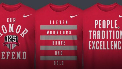 T-shirt choices for the official fan tee of the 125th season of Ohio State Football.