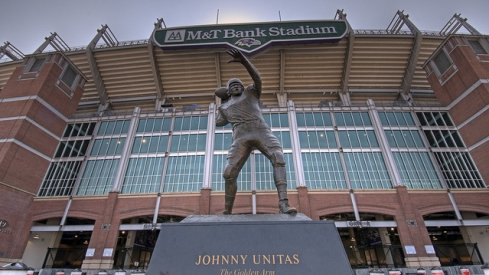 The original Johnny Football throws a pass outside a stadium he's never been in.