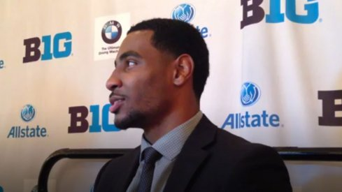 Braxton Miller speaks with reporters at Big Ten Media Days.