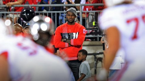LeBron James takes in the Ohio State–Wisconsin game.