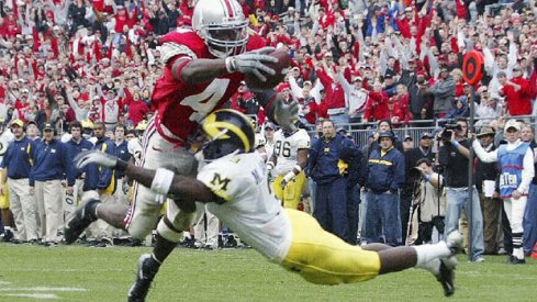 Santonio Holme scores against Michigan in the 2004 upset.