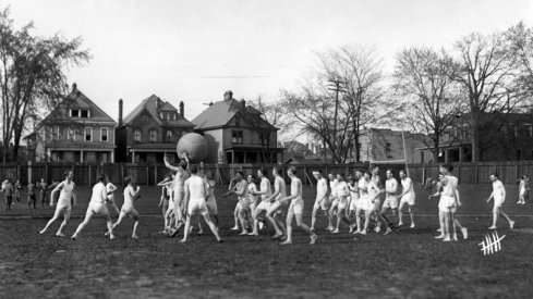 Medicine ball game at Ohio Field, 1920 [OSU Archives]