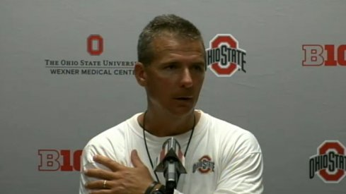 Urban Meyer speaks to reporters at his first weekly press conference of the 2014 season.