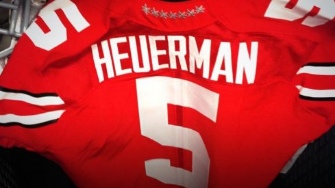 Jeff Heuerman's jersey for the Navy game, honoring Braxton Miller with the No. 5.