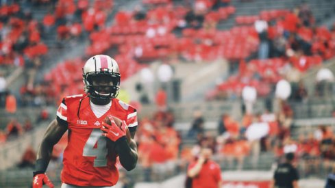 Curtis Samuel powers up. [Walt Keys, ElevenWarriors.com]