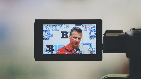 ALL EYEZ ON MEYER. Urban Meyer at Northwestern, 2013. [Walt Keys, ElevenWarriors.com]
