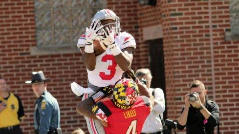 Michael Thomas skies for a touchdown.