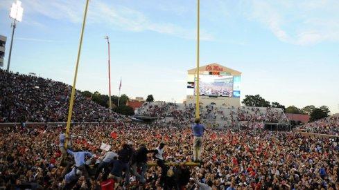 Ole Miss fans celebrate the upset of Alabama.