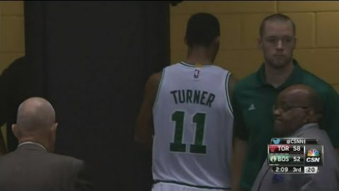 Evan Turner heads for the locker room.