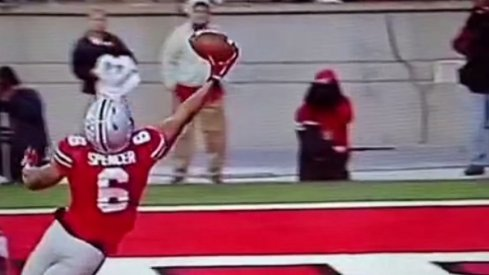 Evan Spencer's one-handed touchdown grab highlighted Ohio State's blowout of Rutgers.