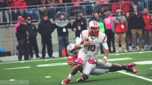 Darron Lee sacks Gary Nova in Ohio State's 56-17 win over Rutgers.