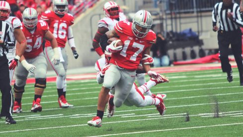 Jalin Marshall was one of eight Ohio State receivers to catch a pass against Rutgers.