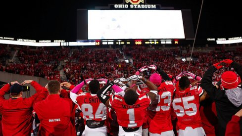 Ohio State sings the alma mater after dumping Penn State last year, 63-14