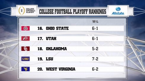 Ohio State is 16th in the intial College Football Playoff Rankings