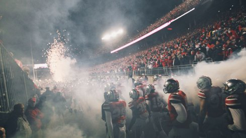 Ohio State enters the field to fog and fireworks.