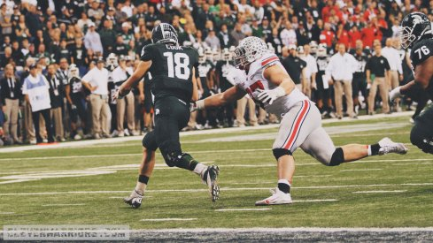 Joey Bosa will look to chase down Connor Cook again Saturday.