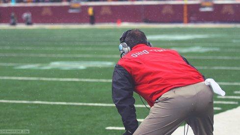 Urban Meyer watches his team in Minnesota.