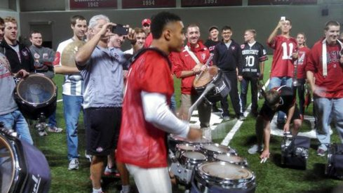 After going ham on Indiana's defense and punt coverage team, Jalin Marshall went ham on a set of drums Sunday after practice.