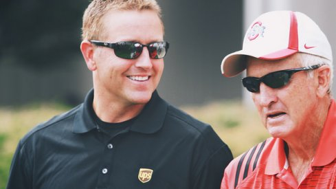 Kirk Herbstreit and John Cooper, trading jokes (no idea why Kirk is wearing a UPS shirt)