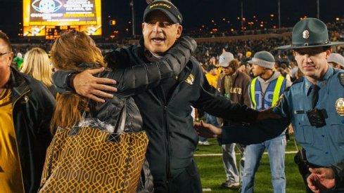 Gary Pinkel celebrates