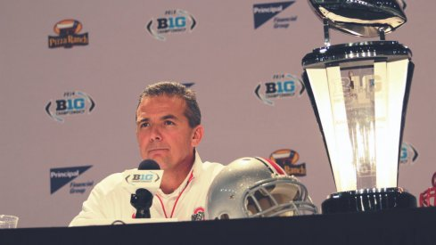 Back inside the bowels of Lucas Oil Stadium, Urban Meyer met with reporters to preview Ohio State's Big Ten title bout against Wisconsin.