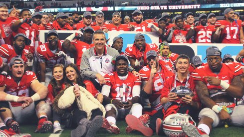 Urban Meyer and his Buckeyes after thumping Wisconsin.