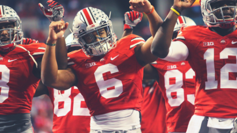 Evan Spencer celebrates Ohio State's Big Ten Championship win over Wisconsin.