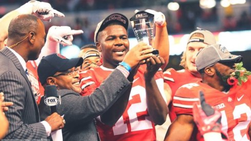Cardale Jones wins the B1G Championship MVP trophy in his first collegiate start. NBD.
