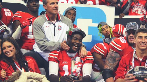 Urban Meyer and Cardale Jones share a moment.