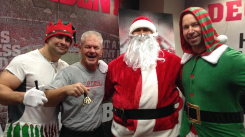 Kerry Coombs and the Ohio State strength and conditioning staff catch the holiday spirit at the Woody Hayes Athletic Center.