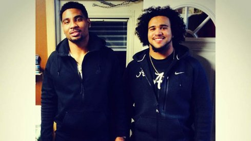 Ohio State quarterback Braxton Miller and Alabama linebacker Trey DePriest spending time together.