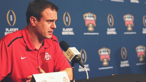 Ohio State co-offensive coordinator and quarterbacks coach Tom Herman speaks to the media in New Orleans.