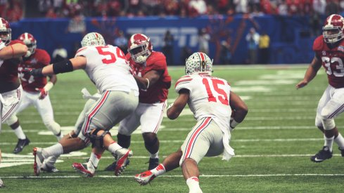 Elliott sealed victory for the Buckeyes after out-running the Crimson Tide