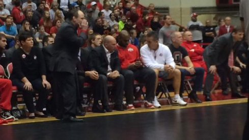 Urban Meyer is on hand for the Ohio State wrestling team's huge match against Iowa today.