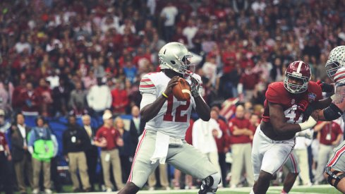 Ohio State quarterback Cardale Jones drops to pass during the Sugar Bowl.