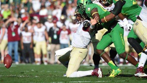 Oregon linebacker Torrodney Prevot makes Florida State quarterback Jameis Winston regret some things.