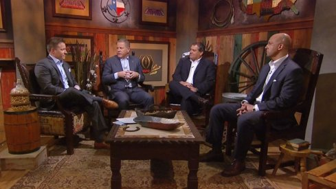 Brian Kelly, Brady Hoke and James Franklin appearing on ESPN's College Football Live.
