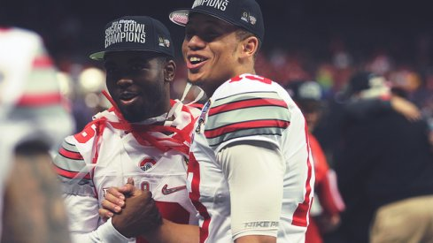 J.T. Barrett, left, and Stephen Collier, right, share a moment after the Sugar Bowl.