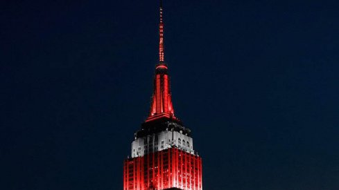 The Empire State Building lit up in scarlet and gray to honor the Buckeyes.