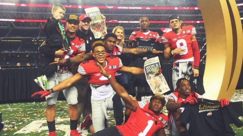 Ohio State's wide receivers celebrate their championship win over Oregon.