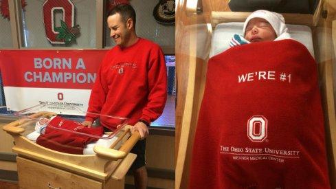 "Wexner Medical Center babies swaddled in ""We're #1"" blankets."