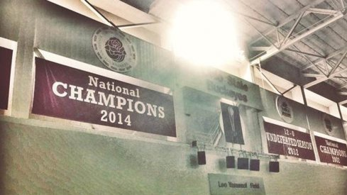 Ohio State's new national championship banner at the Woody Hayes Athletic Center