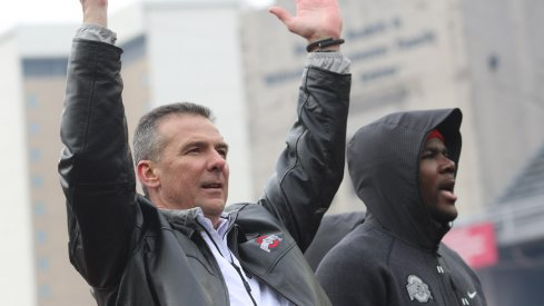 Urban Meyer and Ohio State celebrated the national championship with 45,000 fans Saturday.