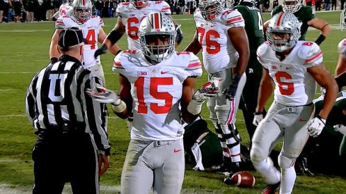 Ezekiel Elliott does the Bosa shrug after scoring a touchdown against Michigan State.