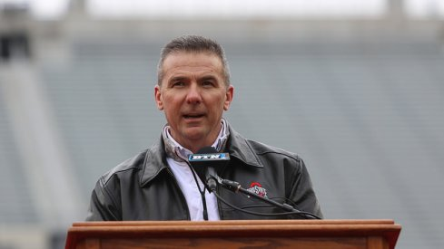 Urban Meyer addresses the crowd at Ohio State's national title celebration.